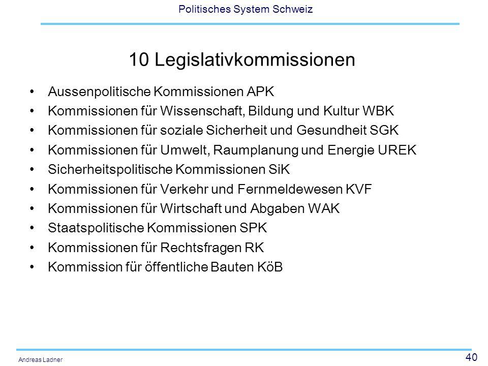 10 Legislativkommissionen
