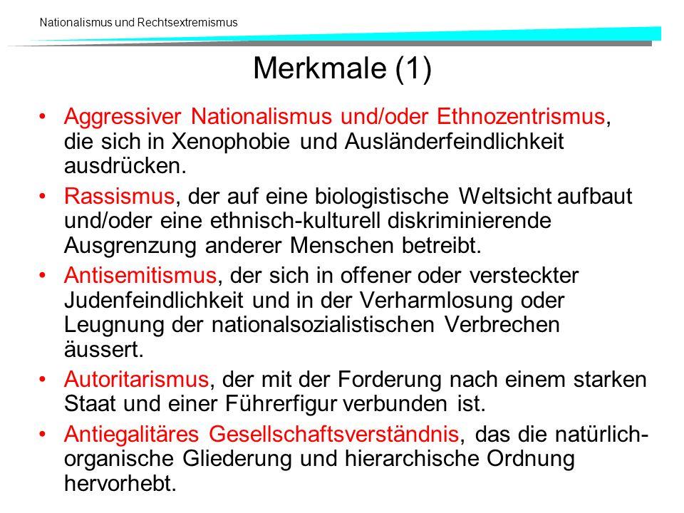 Merkmale (1)Aggressiver Nationalismus und/oder Ethnozentrismus, die sich in Xenophobie und Ausländerfeindlichkeit ausdrücken.