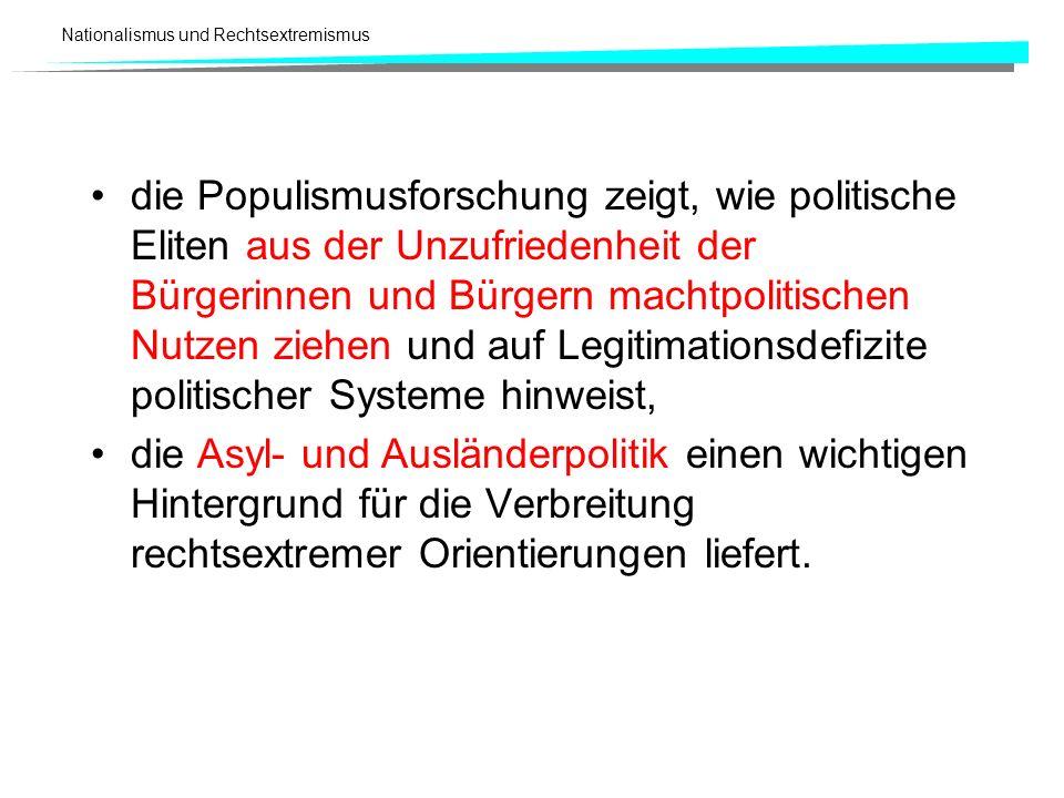 die Populismusforschung zeigt, wie politische Eliten aus der Unzufriedenheit der Bürgerinnen und Bürgern machtpolitischen Nutzen ziehen und auf Legitimationsdefizite politischer Systeme hinweist,