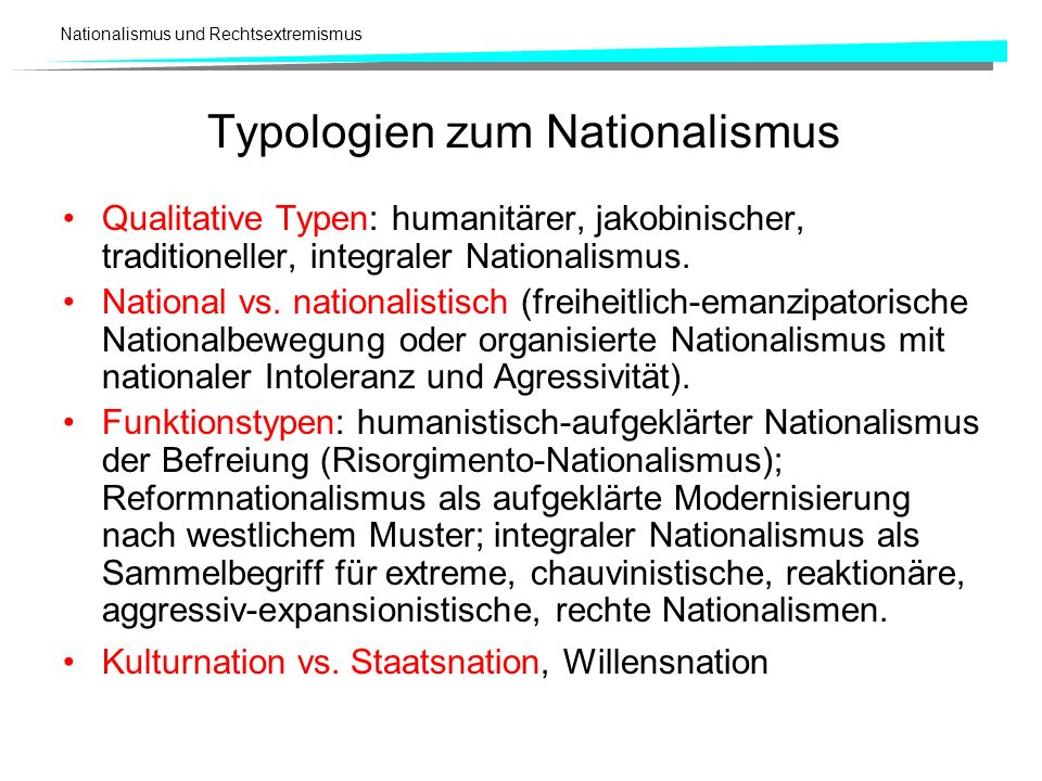 Typologien zum Nationalismus