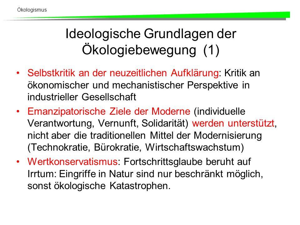 Ideologische Grundlagen der Ökologiebewegung (1)