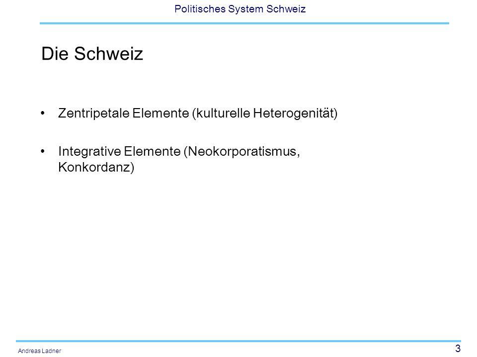 Die Schweiz Zentripetale Elemente (kulturelle Heterogenität)