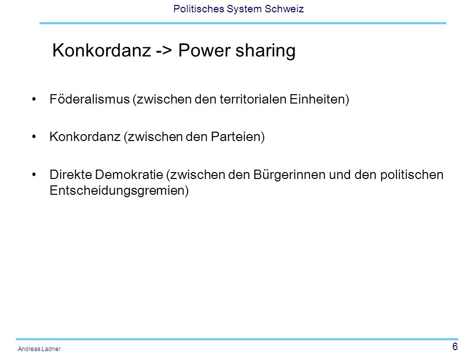 Konkordanz -> Power sharing