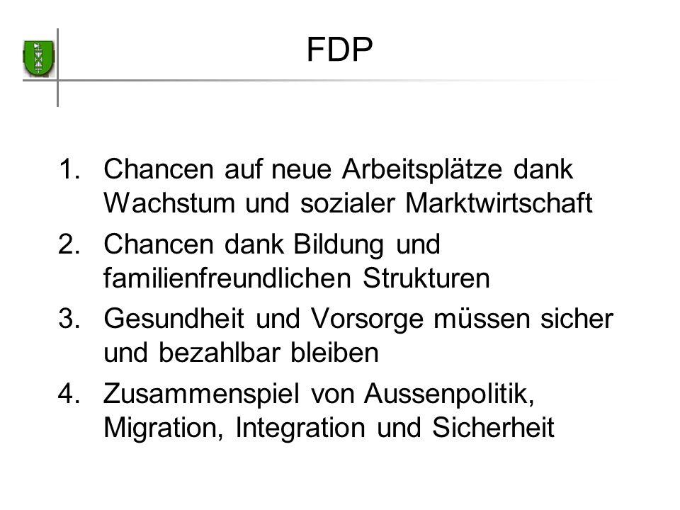 FDP Chancen auf neue Arbeitsplätze dank Wachstum und sozialer Marktwirtschaft. Chancen dank Bildung und familienfreundlichen Strukturen.