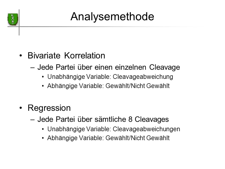 Analysemethode Bivariate Korrelation Regression