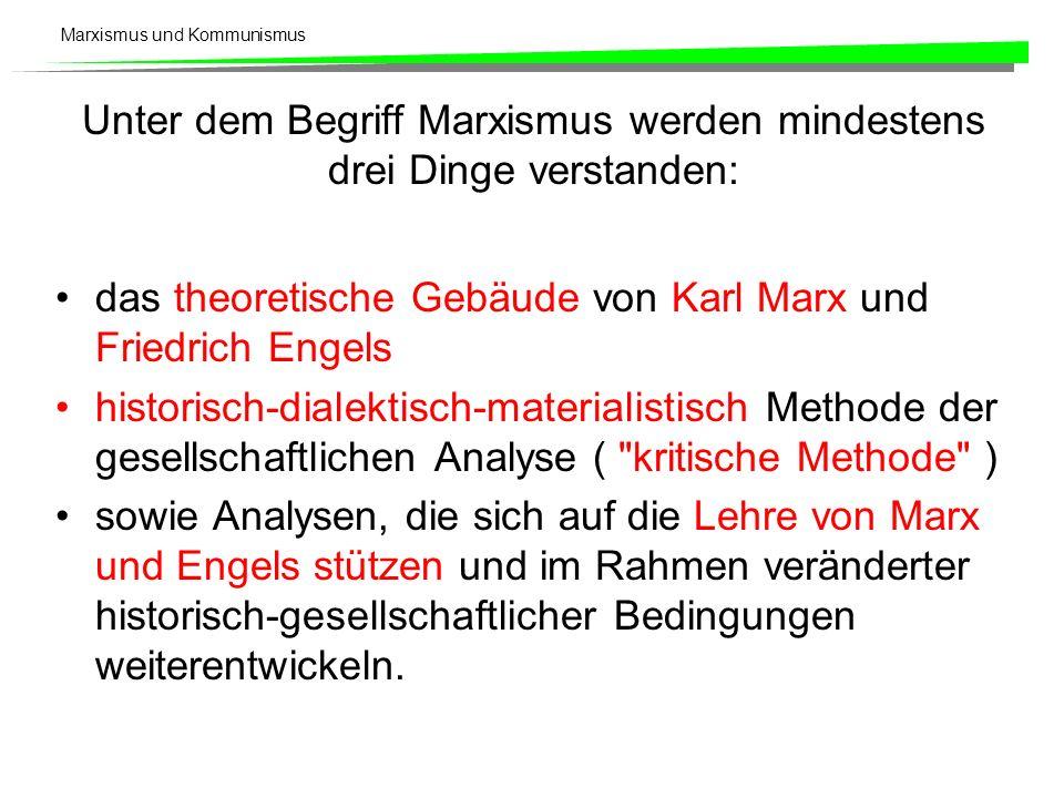 Unter dem Begriff Marxismus werden mindestens drei Dinge verstanden: