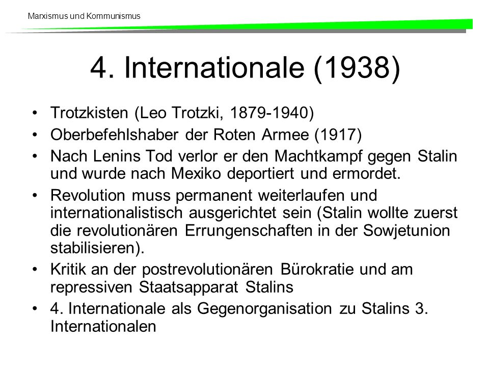 4. Internationale (1938) Trotzkisten (Leo Trotzki, 1879-1940)