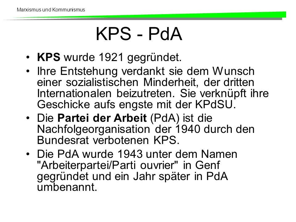 KPS - PdA KPS wurde 1921 gegründet.