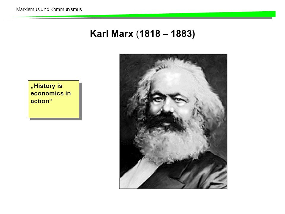 "Karl Marx (1818 – 1883) ""History is economics in action"