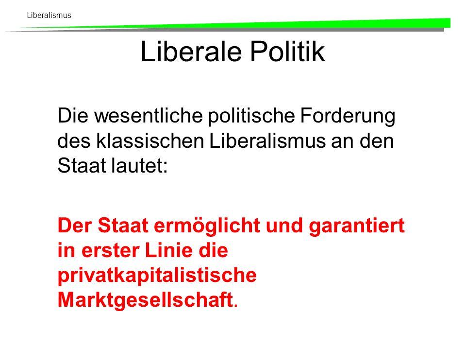 Liberale PolitikDie wesentliche politische Forderung des klassischen Liberalismus an den Staat lautet: