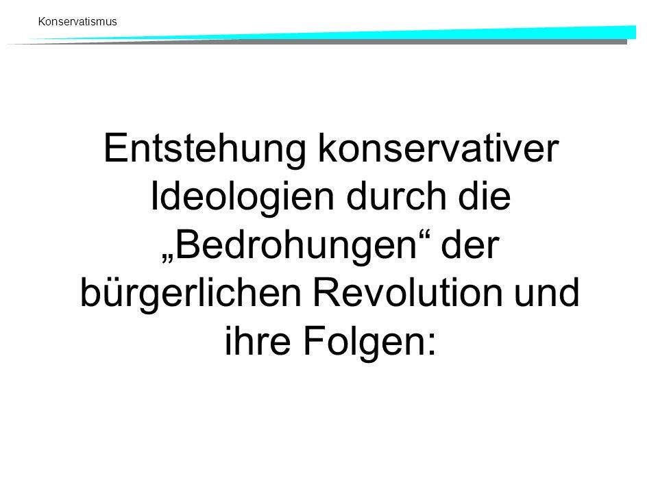 """Entstehung konservativer Ideologien durch die """"Bedrohungen der bürgerlichen Revolution und ihre Folgen:"""
