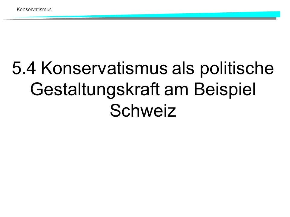 5.4 Konservatismus als politische Gestaltungskraft am Beispiel Schweiz