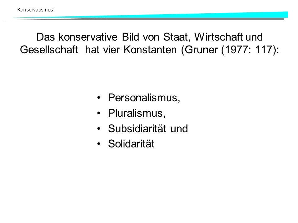 Das konservative Bild von Staat, Wirtschaft und Gesellschaft hat vier Konstanten (Gruner (1977: 117):