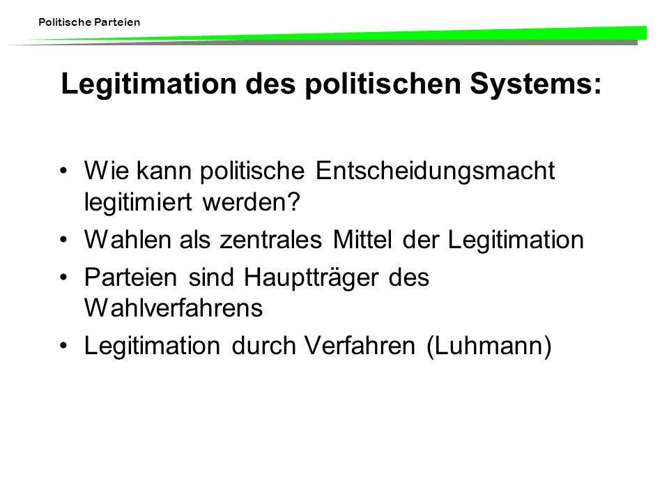 Legitimation des politischen Systems:
