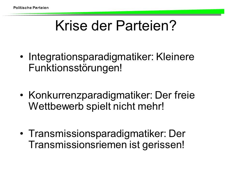 Krise der Parteien Integrationsparadigmatiker: Kleinere Funktionsstörungen! Konkurrenzparadigmatiker: Der freie Wettbewerb spielt nicht mehr!