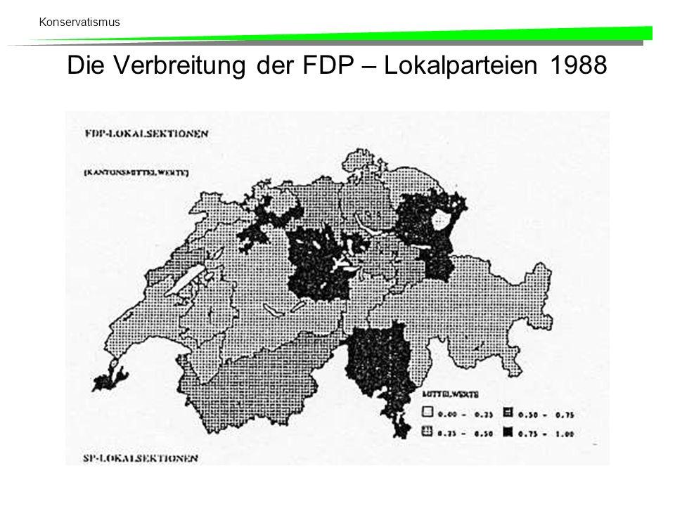 Die Verbreitung der FDP – Lokalparteien 1988
