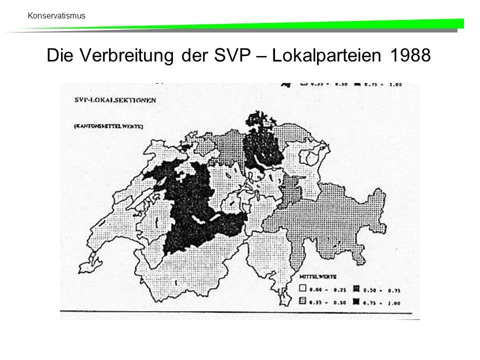 Die Verbreitung der SVP – Lokalparteien 1988