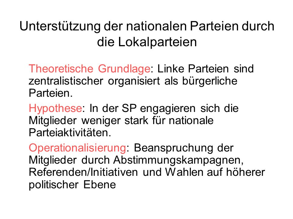 Unterstützung der nationalen Parteien durch die Lokalparteien