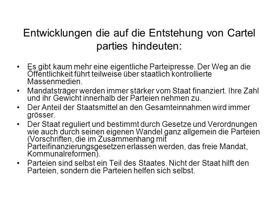 Entwicklungen die auf die Entstehung von Cartel parties hindeuten: