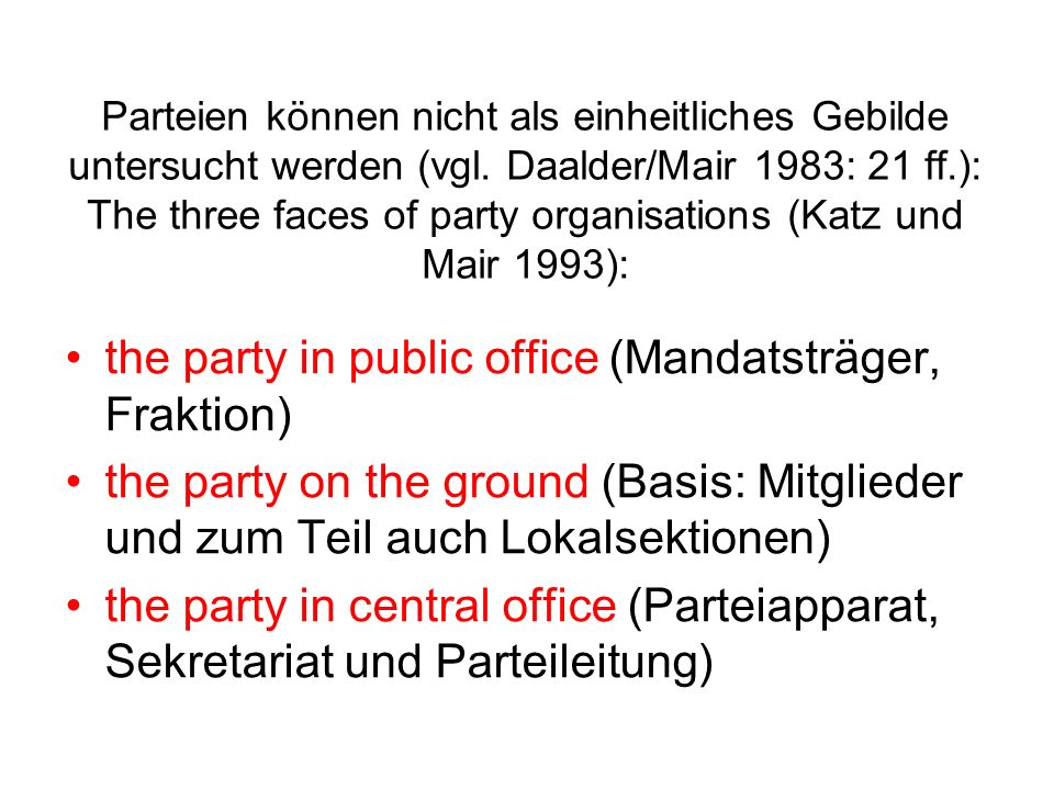 the party in public office (Mandatsträger, Fraktion)
