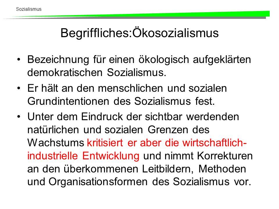 Begriffliches:Ökosozialismus