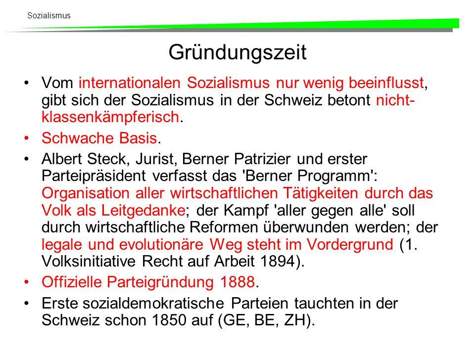 Gründungszeit Vom internationalen Sozialismus nur wenig beeinflusst, gibt sich der Sozialismus in der Schweiz betont nicht-klassenkämpferisch.