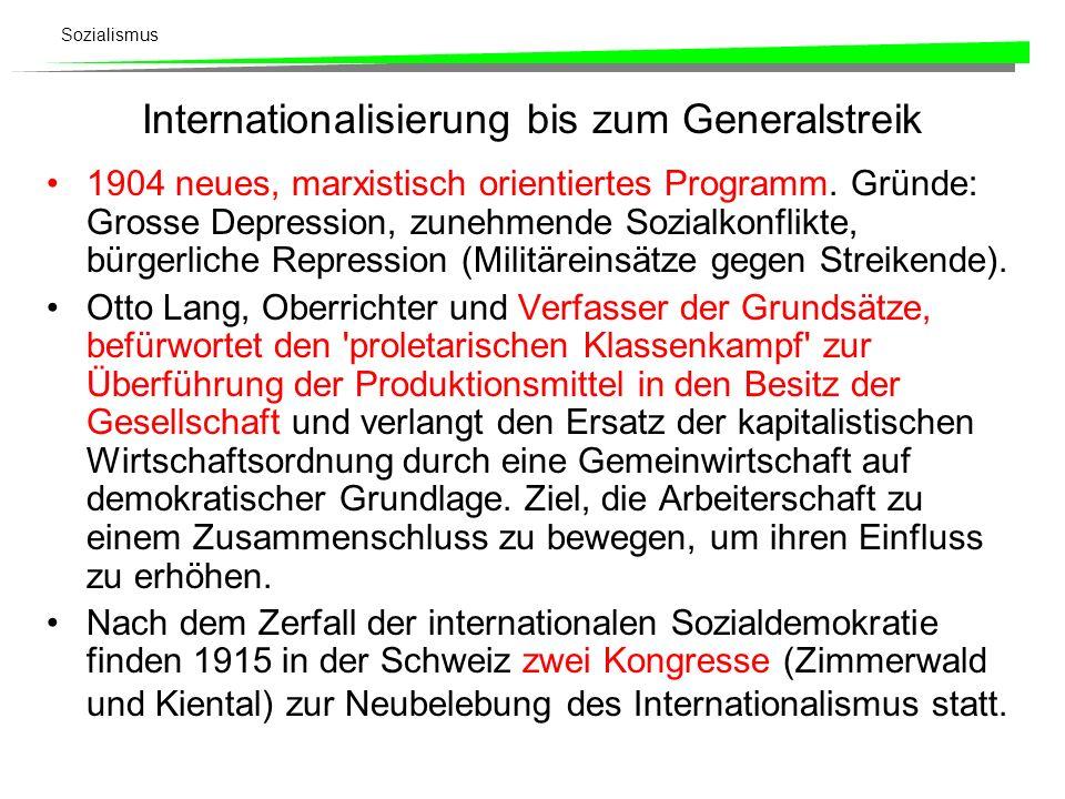 Internationalisierung bis zum Generalstreik