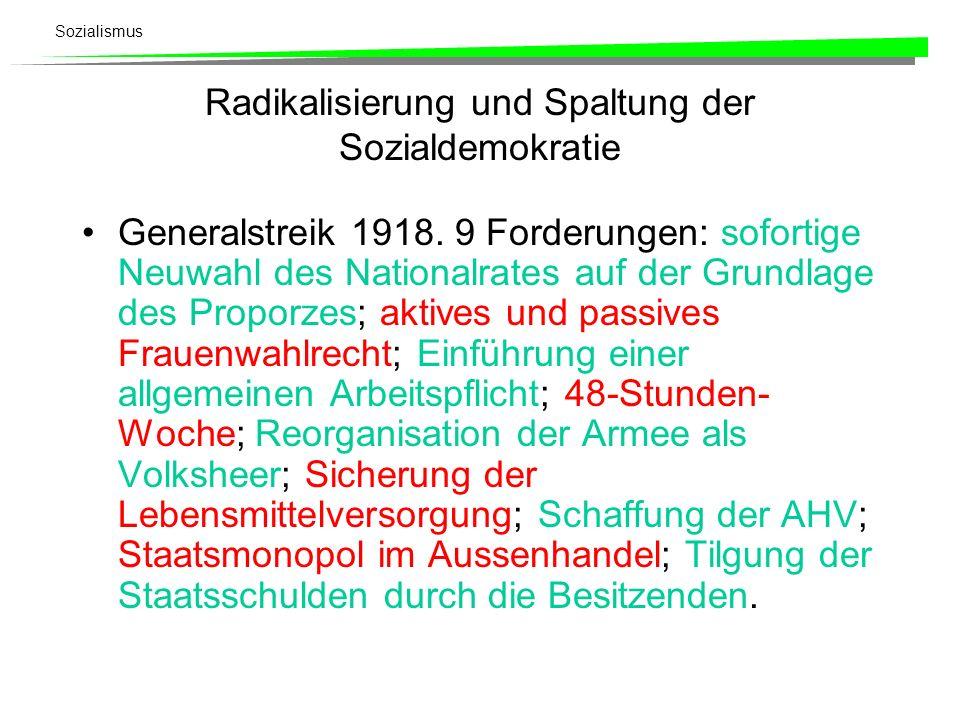 Radikalisierung und Spaltung der Sozialdemokratie