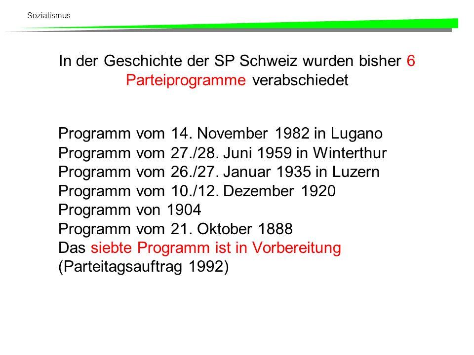 In der Geschichte der SP Schweiz wurden bisher 6 Parteiprogramme verabschiedet