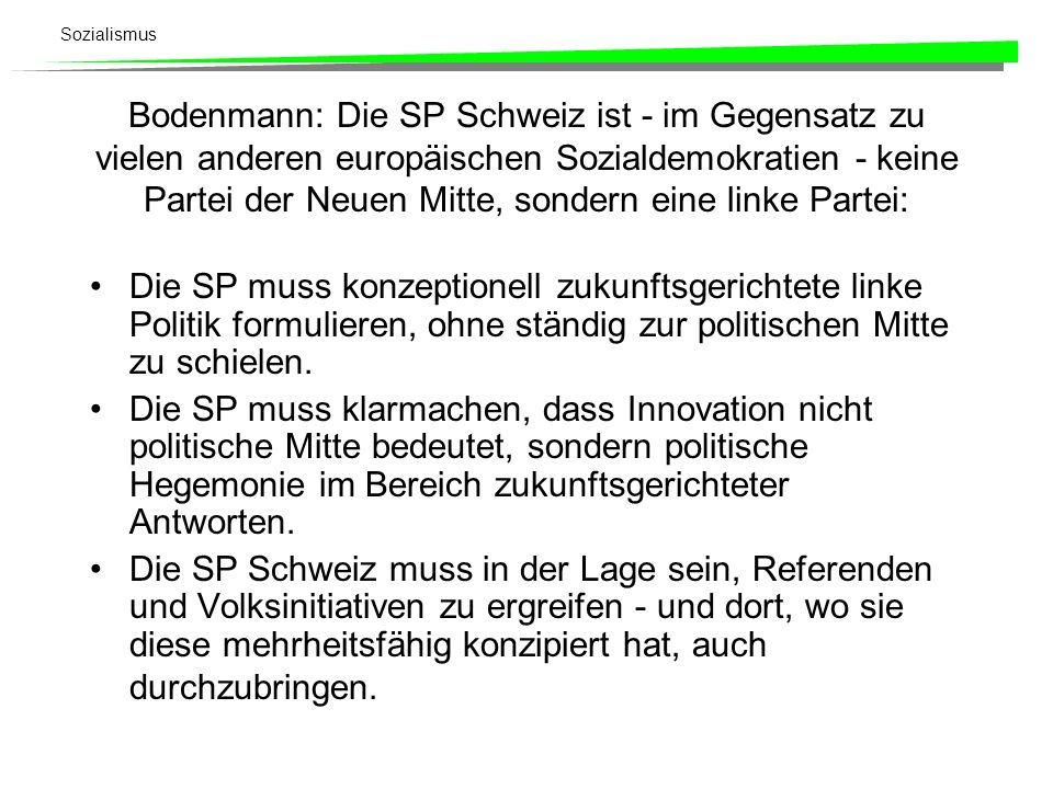Bodenmann: Die SP Schweiz ist - im Gegensatz zu vielen anderen europäischen Sozialdemokratien - keine Partei der Neuen Mitte, sondern eine linke Partei: