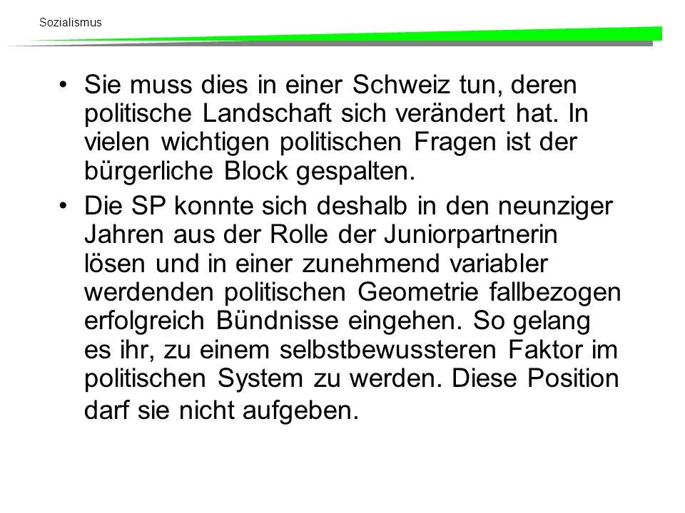 Sie muss dies in einer Schweiz tun, deren politische Landschaft sich verändert hat. In vielen wichtigen politischen Fragen ist der bürgerliche Block gespalten.