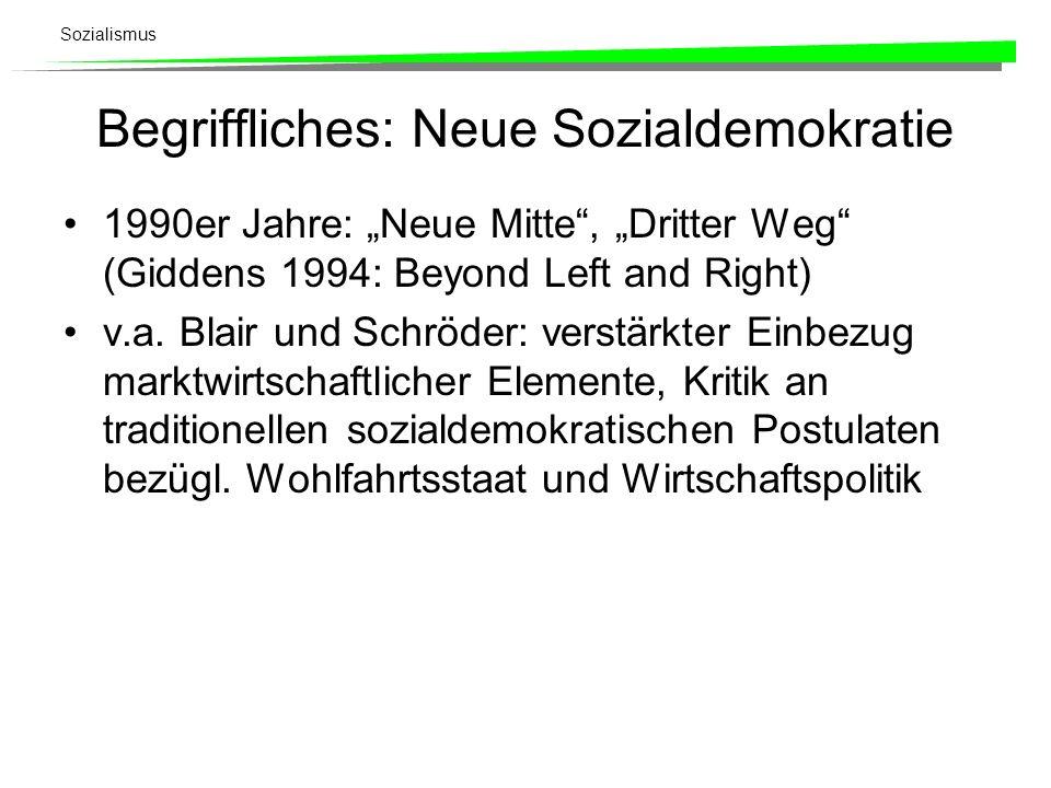 Begriffliches: Neue Sozialdemokratie