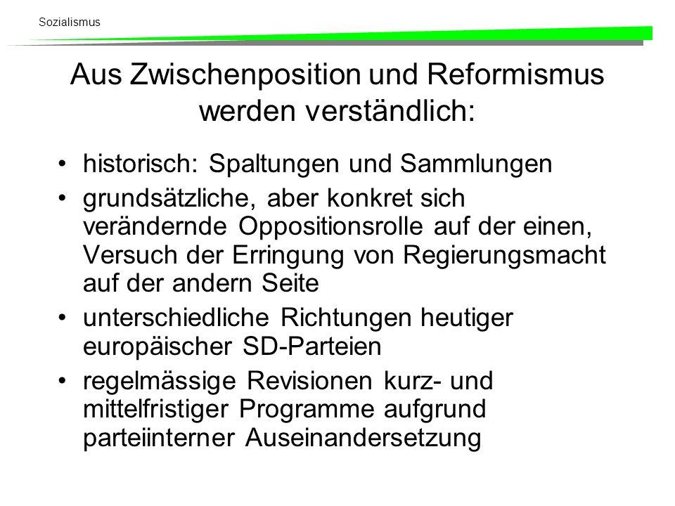 Aus Zwischenposition und Reformismus werden verständlich: