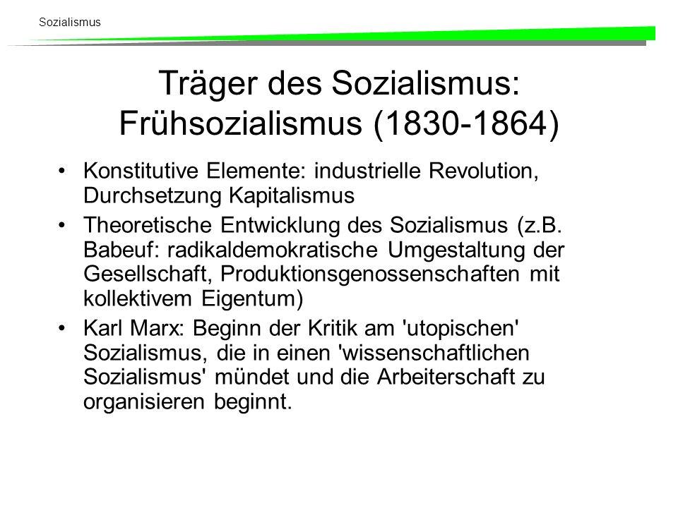 Träger des Sozialismus: Frühsozialismus (1830-1864)