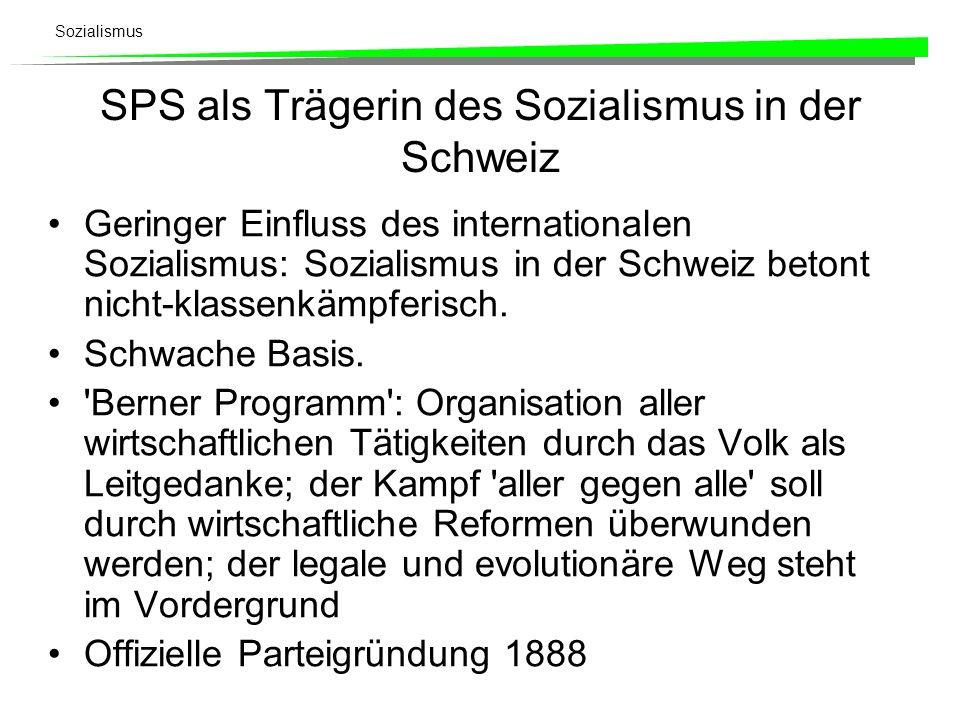 SPS als Trägerin des Sozialismus in der Schweiz