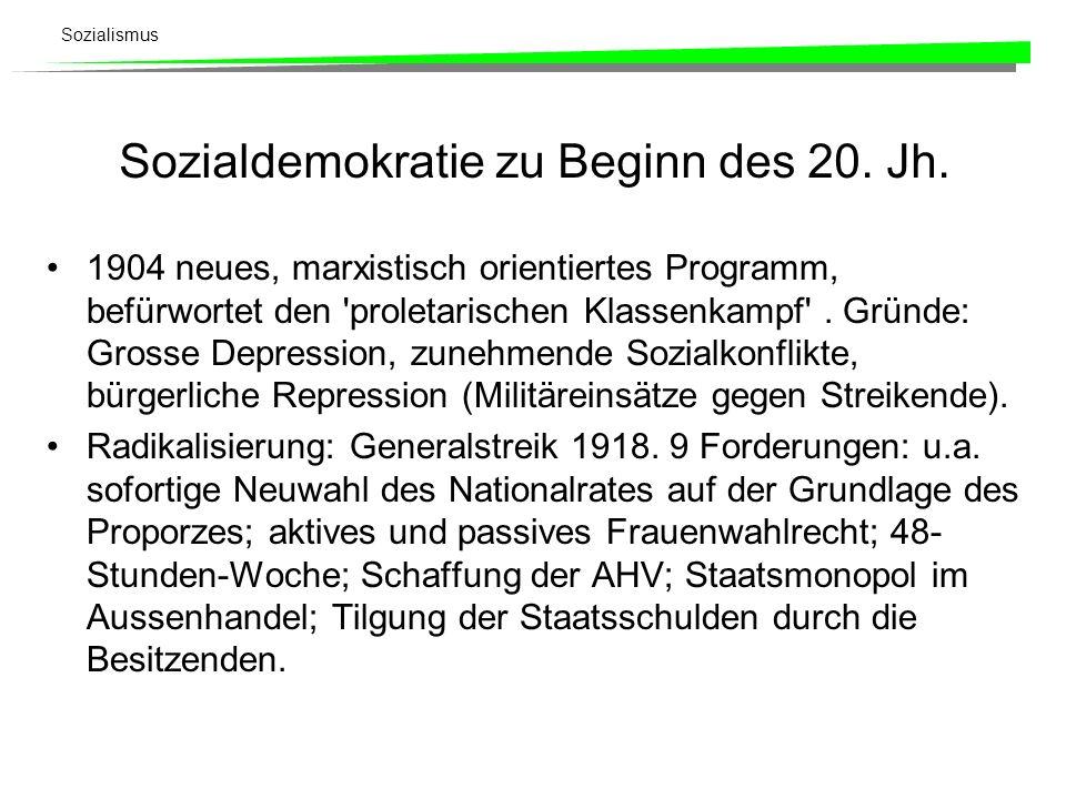 Sozialdemokratie zu Beginn des 20. Jh.