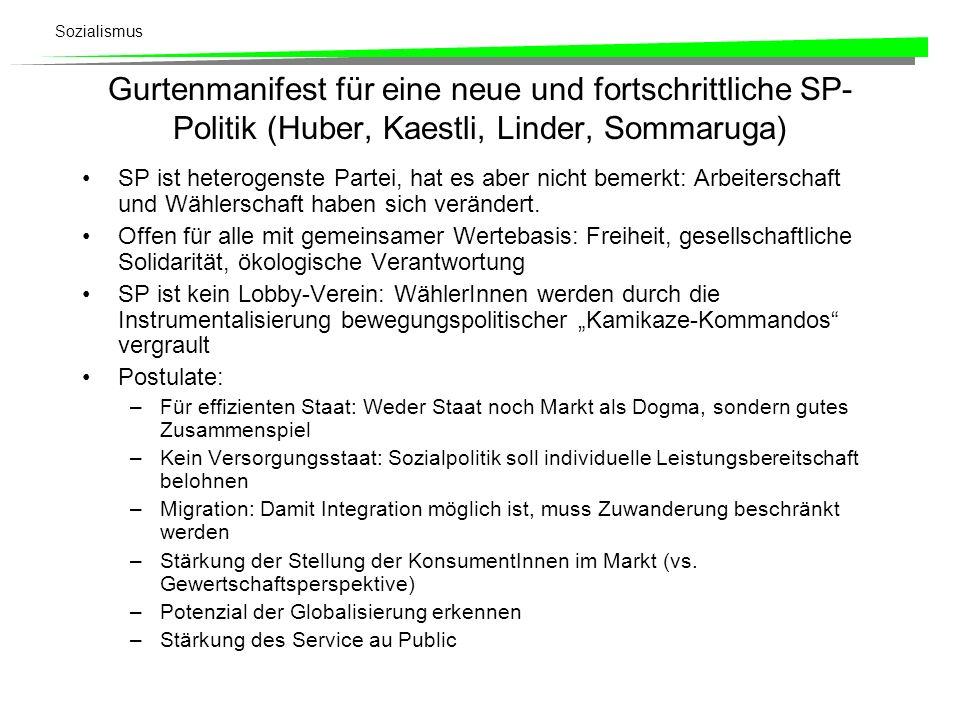 Gurtenmanifest für eine neue und fortschrittliche SP-Politik (Huber, Kaestli, Linder, Sommaruga)