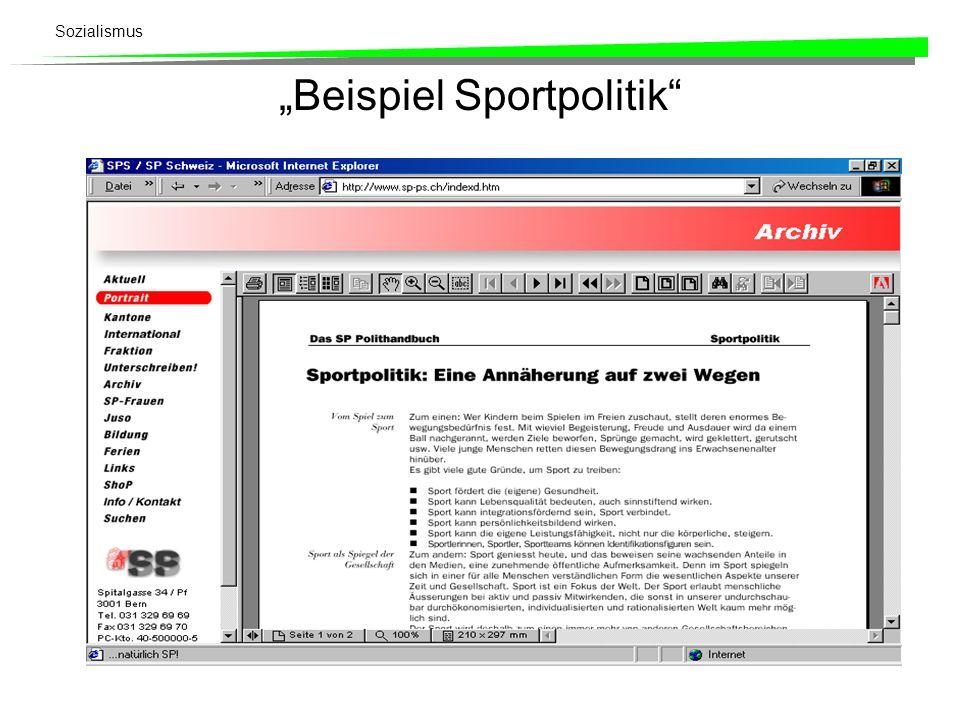 """""""Beispiel Sportpolitik"""