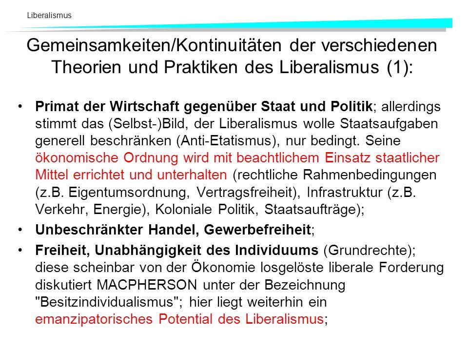 Gemeinsamkeiten/Kontinuitäten der verschiedenen Theorien und Praktiken des Liberalismus (1):