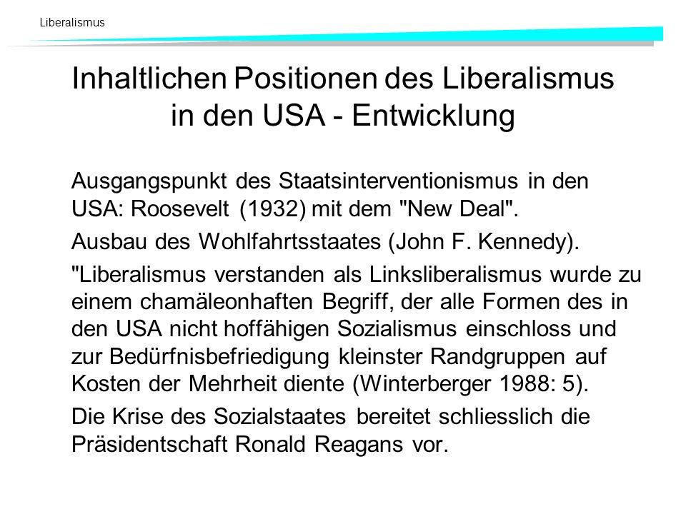 Inhaltlichen Positionen des Liberalismus in den USA - Entwicklung