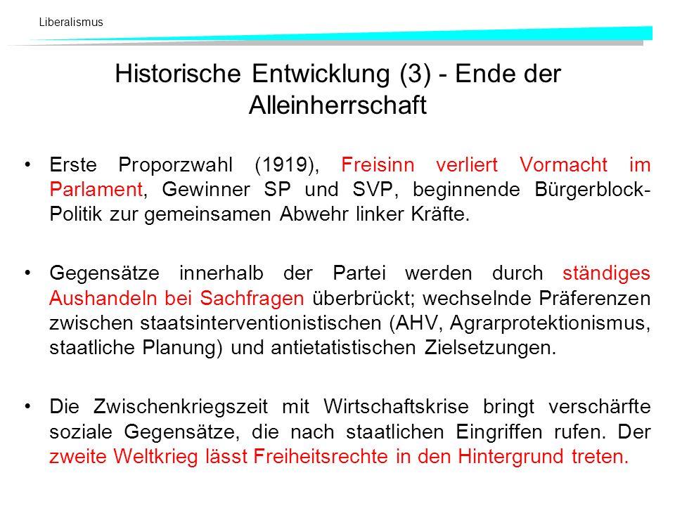 Historische Entwicklung (3) - Ende der Alleinherrschaft