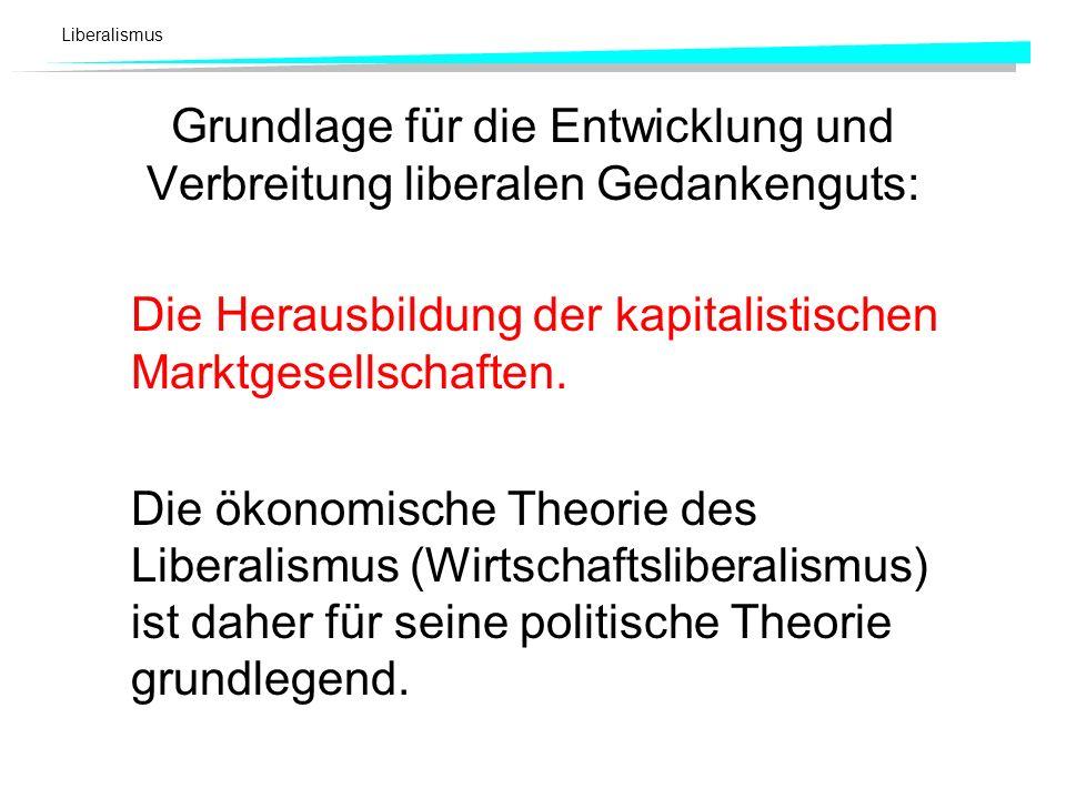 Grundlage für die Entwicklung und Verbreitung liberalen Gedankenguts: