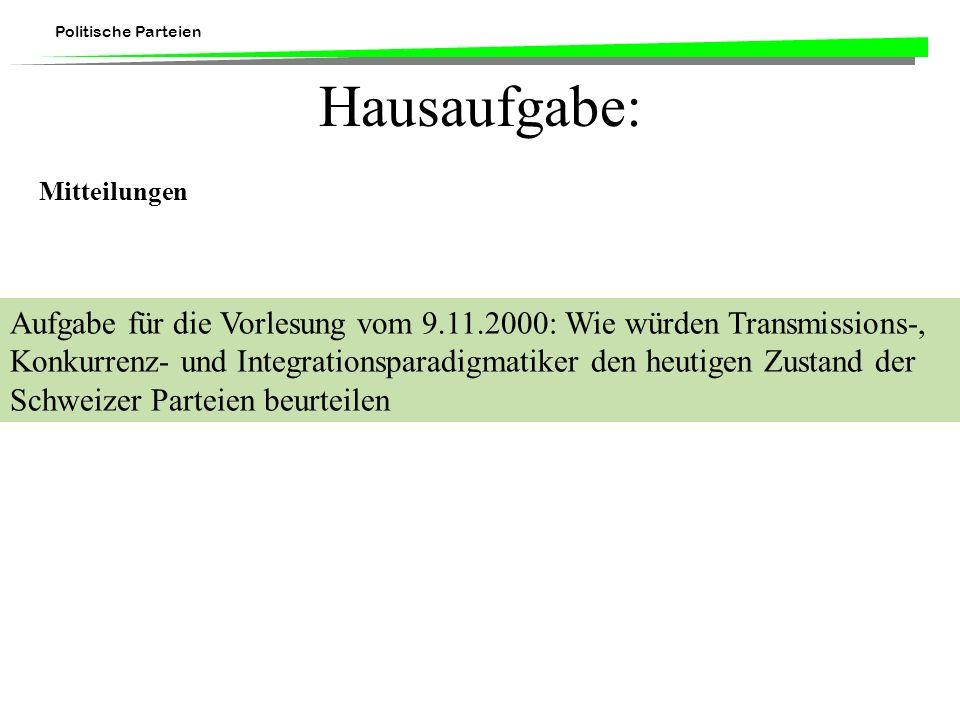 Hausaufgabe: Mitteilungen.