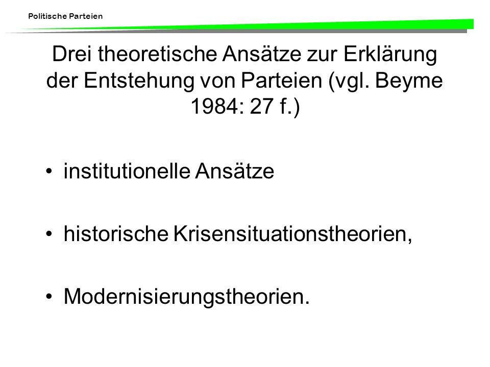 Drei theoretische Ansätze zur Erklärung der Entstehung von Parteien (vgl. Beyme 1984: 27 f.)