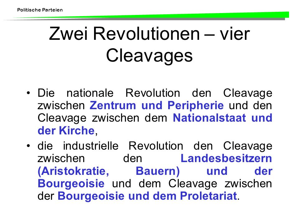 Zwei Revolutionen – vier Cleavages