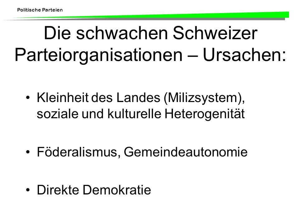 Die schwachen Schweizer Parteiorganisationen – Ursachen: