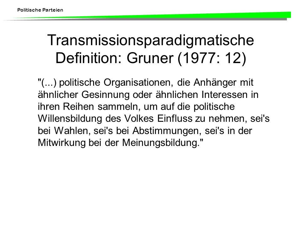 Transmissionsparadigmatische Definition: Gruner (1977: 12)