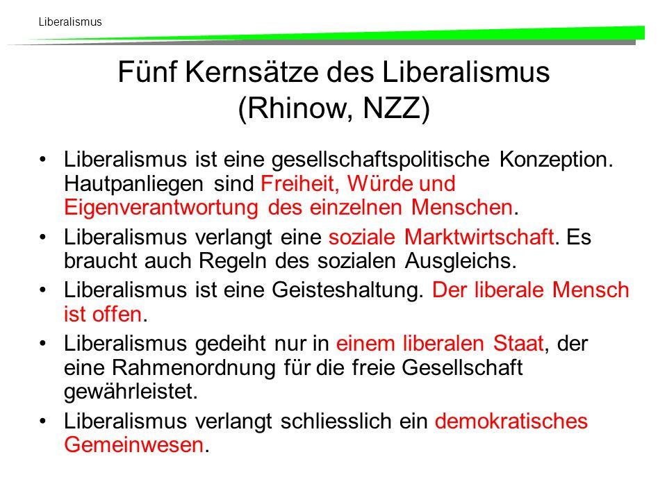 Fünf Kernsätze des Liberalismus (Rhinow, NZZ)