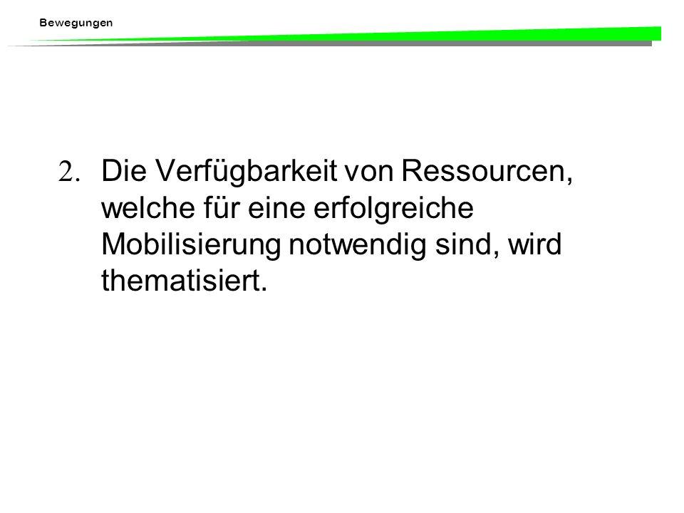 2. Die Verfügbarkeit von Ressourcen, welche für eine erfolgreiche Mobilisierung notwendig sind, wird thematisiert.