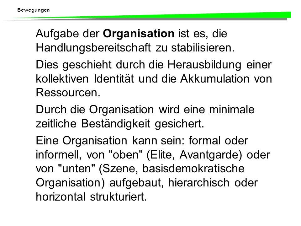 Aufgabe der Organisation ist es, die Handlungsbereitschaft zu stabilisieren.